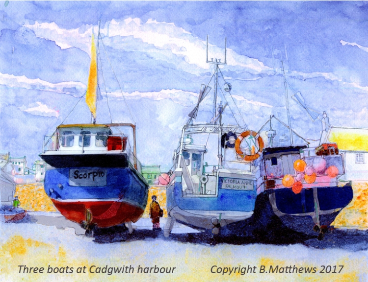 Three boats at Cadgwith harbour cc