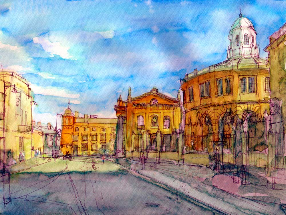 Broad Street sketch at 7 x 10